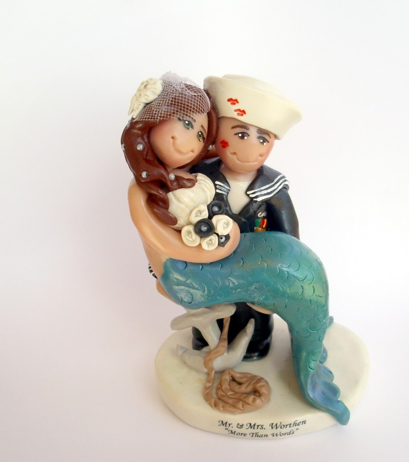Mermaid And Sailor Wedding Cake Topper
