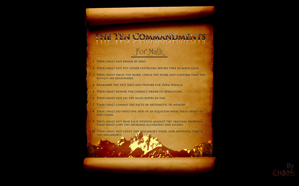 pictures for math. Ten Commandments for Math WIDE