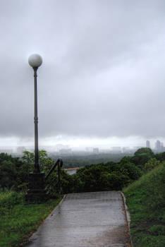 street lantern city stock after rain