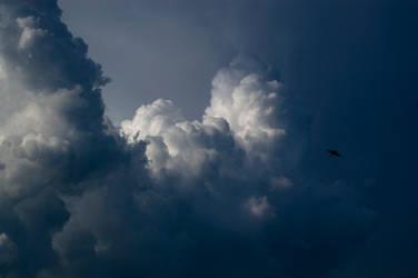 big cloud before storm light and dark sky stock