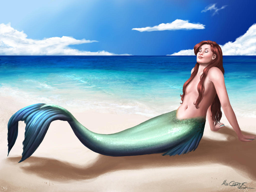 Mermaid taking sunbath by MissCherryS8