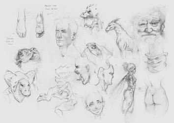 Random Sketch Pile 1 by AaronGriffinArt