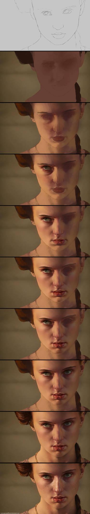 Sansa - Game of Thrones Process by AaronGriffinArt