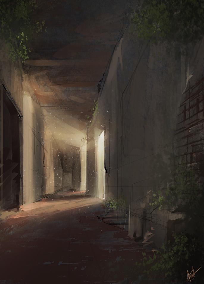 Empty Hallway Spitpaint - 30 minutes by AaronGriffinArt