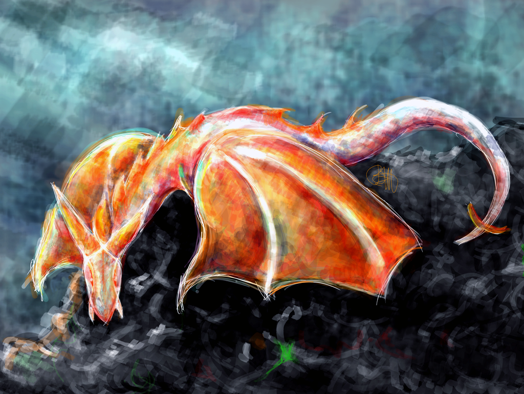 Dragon on a Stone by Boutzzz
