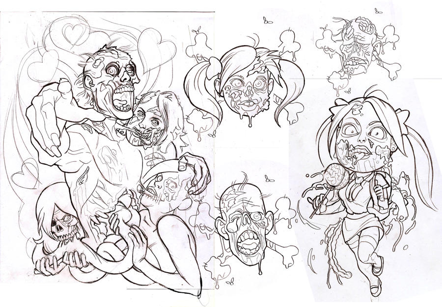Zombie Tattoo Sketches Zombie Tattoo Flash Sheet by