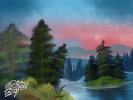 Bob Ross landscape painting (2)