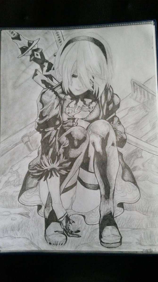 2b nierautomata 4th pencil drawing by alexandernoro