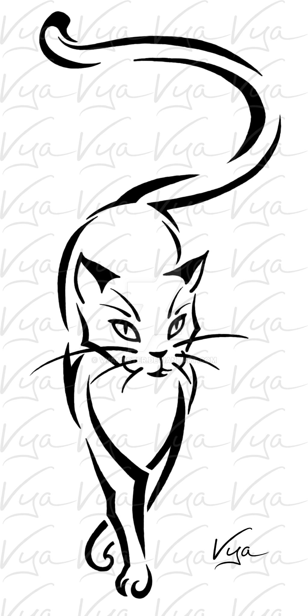 Line Drawing Meaning : Cat tattoo by vyamester on deviantart