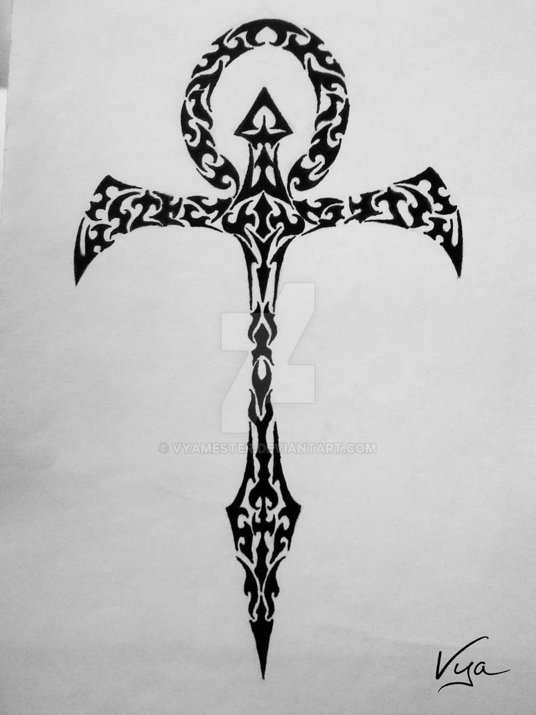 c1731ae742840 Vampire ankh tribal tattoo design by Vyamester on DeviantArt
