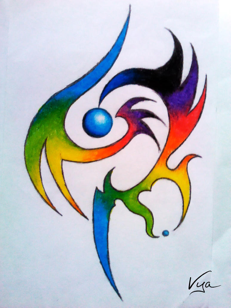 Tribal Tattoo With Color: Color Tribal Tattoo By Vyamester On DeviantArt