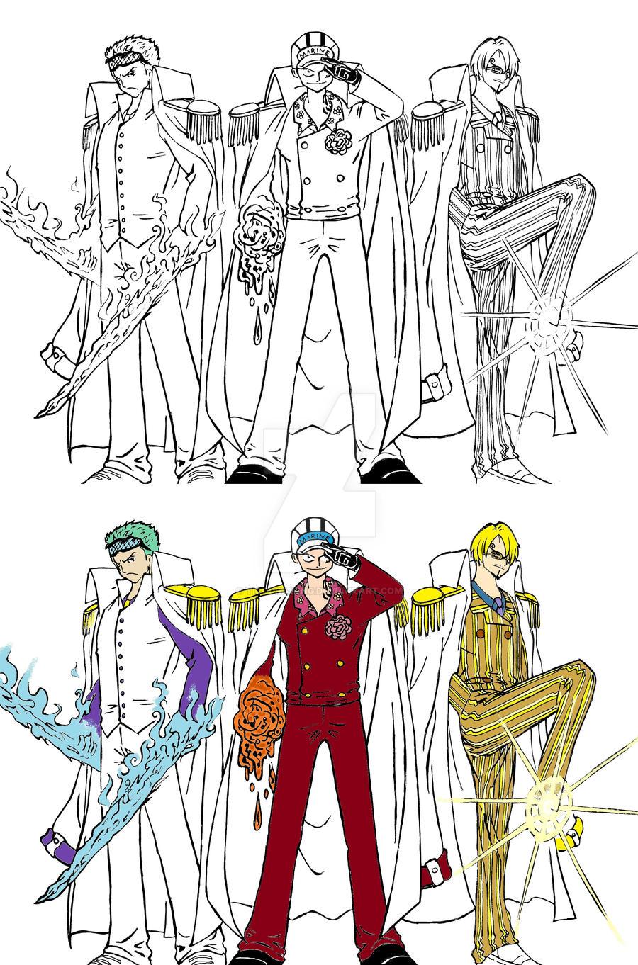 Luffy,Zoro and Sanji Admirals by TicoDrawing on DeviantArt  One