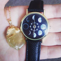 Great Pair - My Moon Watch and Gemstone Necklace by BlitheMagic