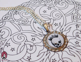 Crowned skull silver necklace by BlitheMagic
