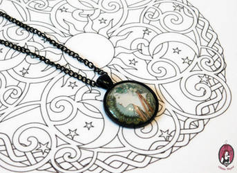 Mucha necklace with black findings