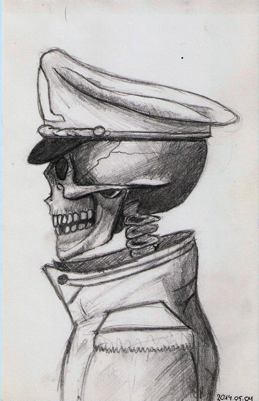 Skeleton with uniform sketch 02 by DrunkHedgehog