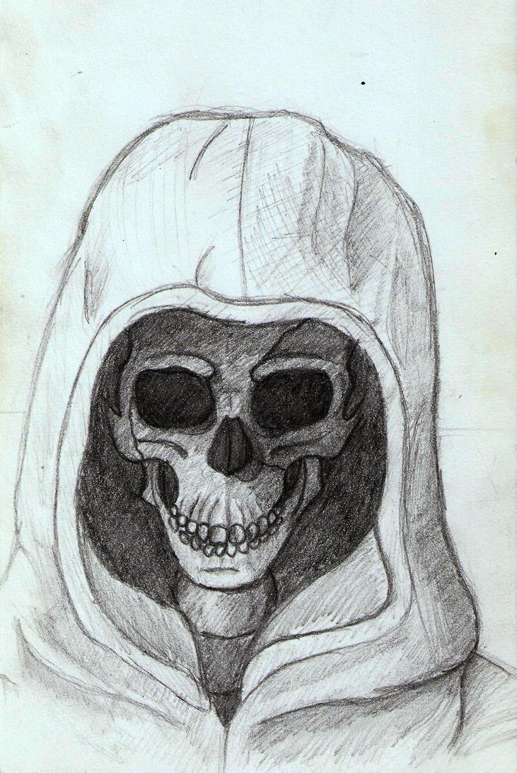 Skull with hoodie by DrunkHedgehog
