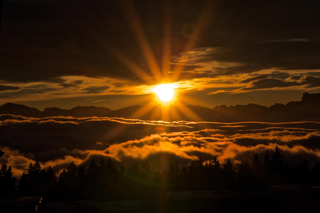 Sunset Over The Clouds Iv By David2500 On Deviantart