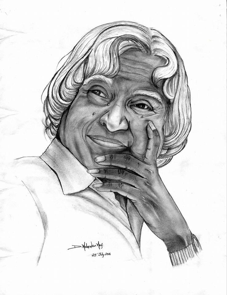 Apj abdul kalam pencil sketch by magi1812