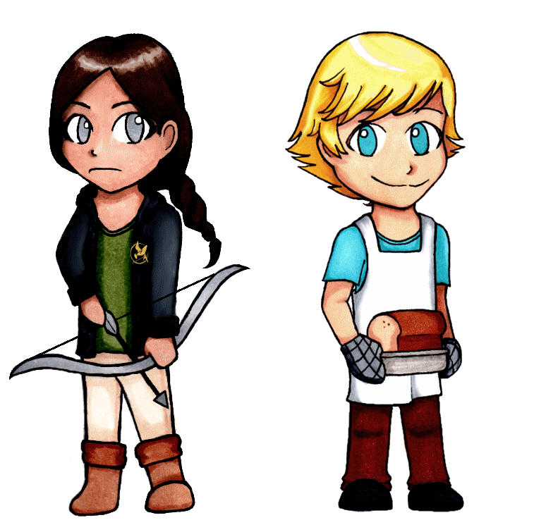 katniss and peeta chibis by otakurose on deviantart