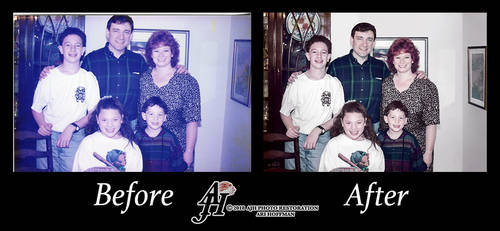 Family Photo In The 1980's. Before and After
