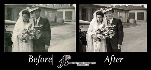 Charming Wedding Couple In The 1940's
