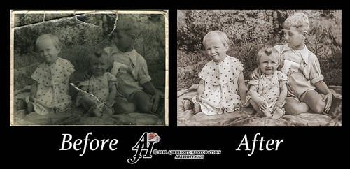 Siblings In The 1950's. Before and After.