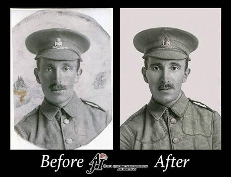 British War Hero Of WW1 Photo Restoration