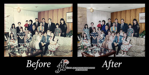 Family Event In The 1990's Photo Restoration