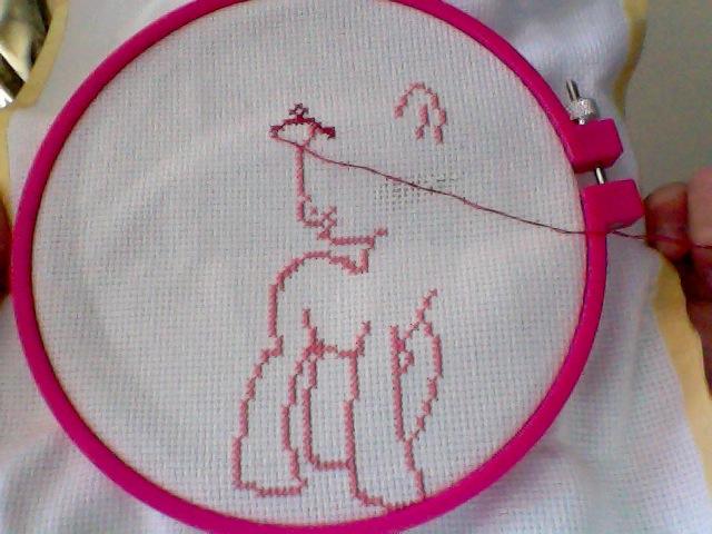 Pinkie Pie cross stitch by TeslaSong