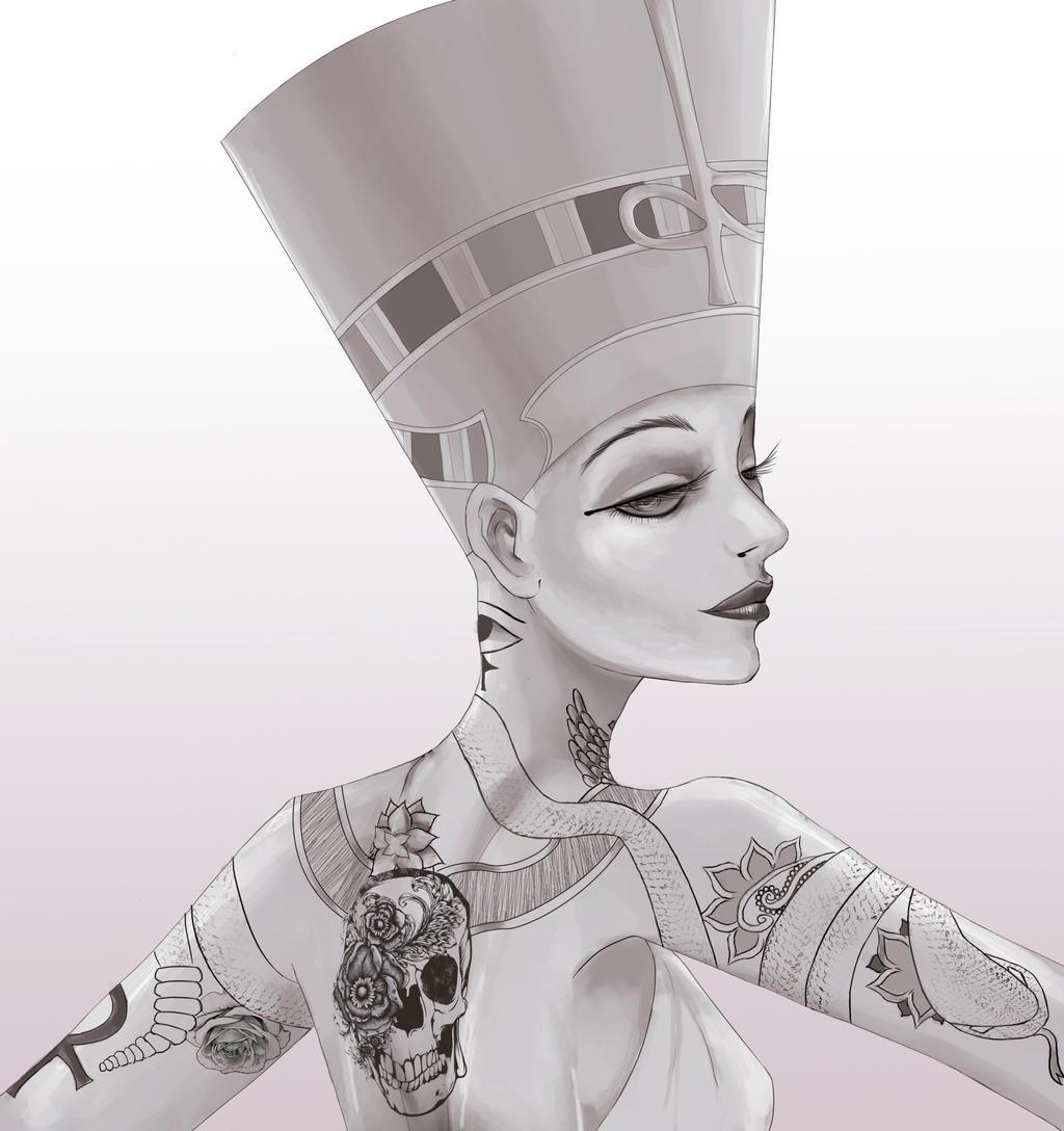 Antonietta Arnone Arts | Egyptian tattoo, Queen nefertiti ... |Nefertiti Tattoo Drawing