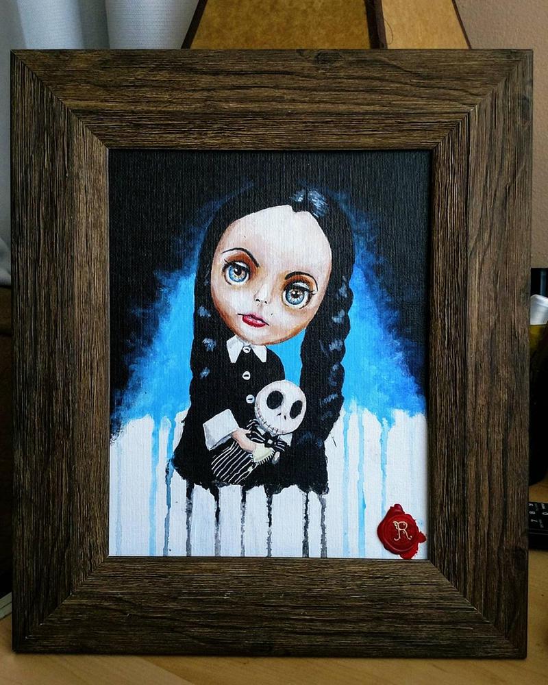 Little Wednesday Adams Blythe doll by RRocha722