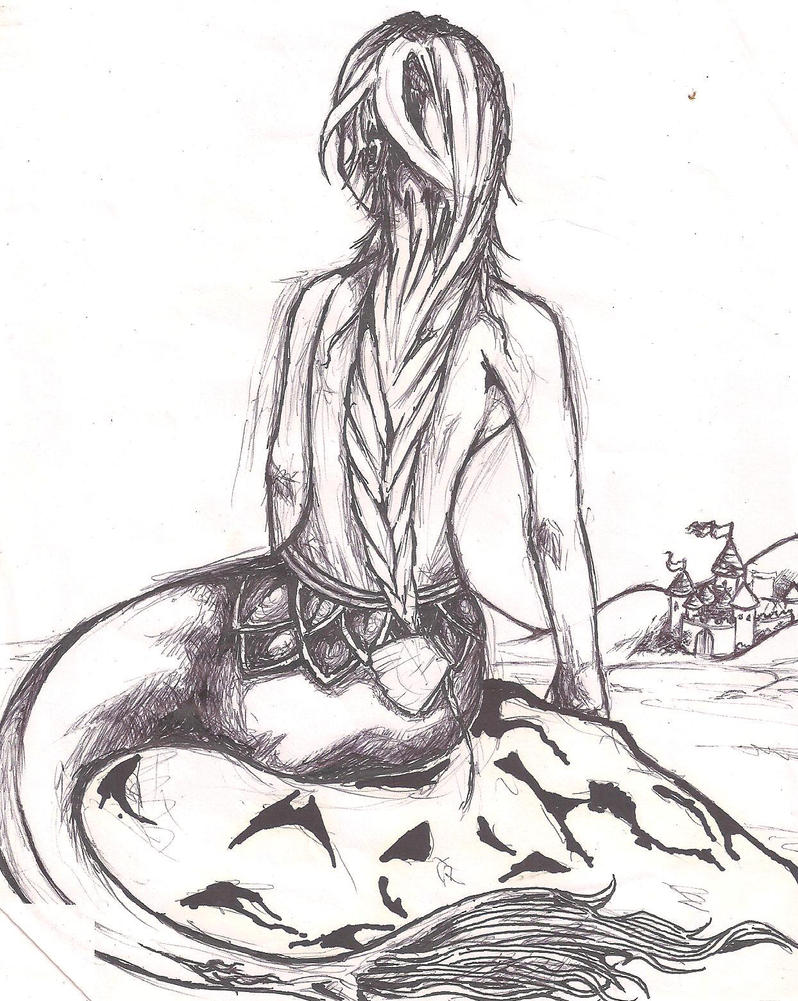 how to draw a mermaid on a rock