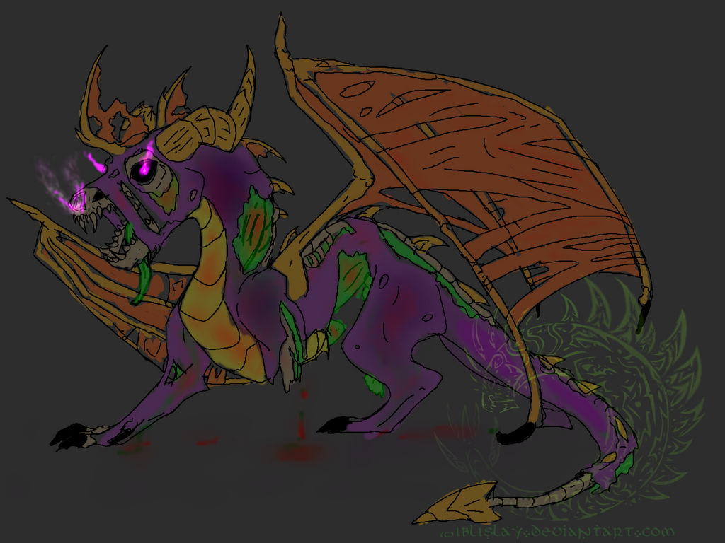 Request Cynderules101: Zombie spyro by Iblislay