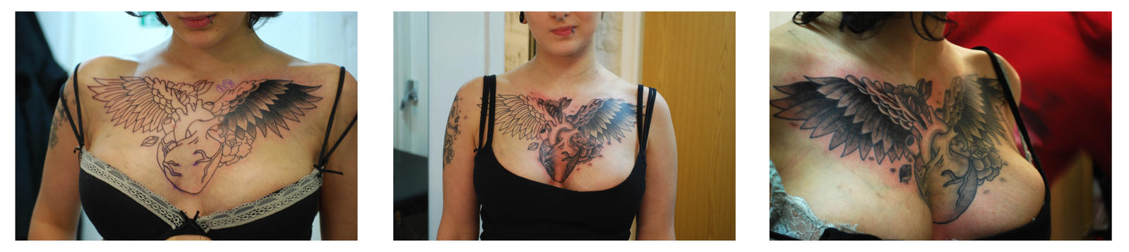 Heart and Wings Chest Piece - chest tattoo