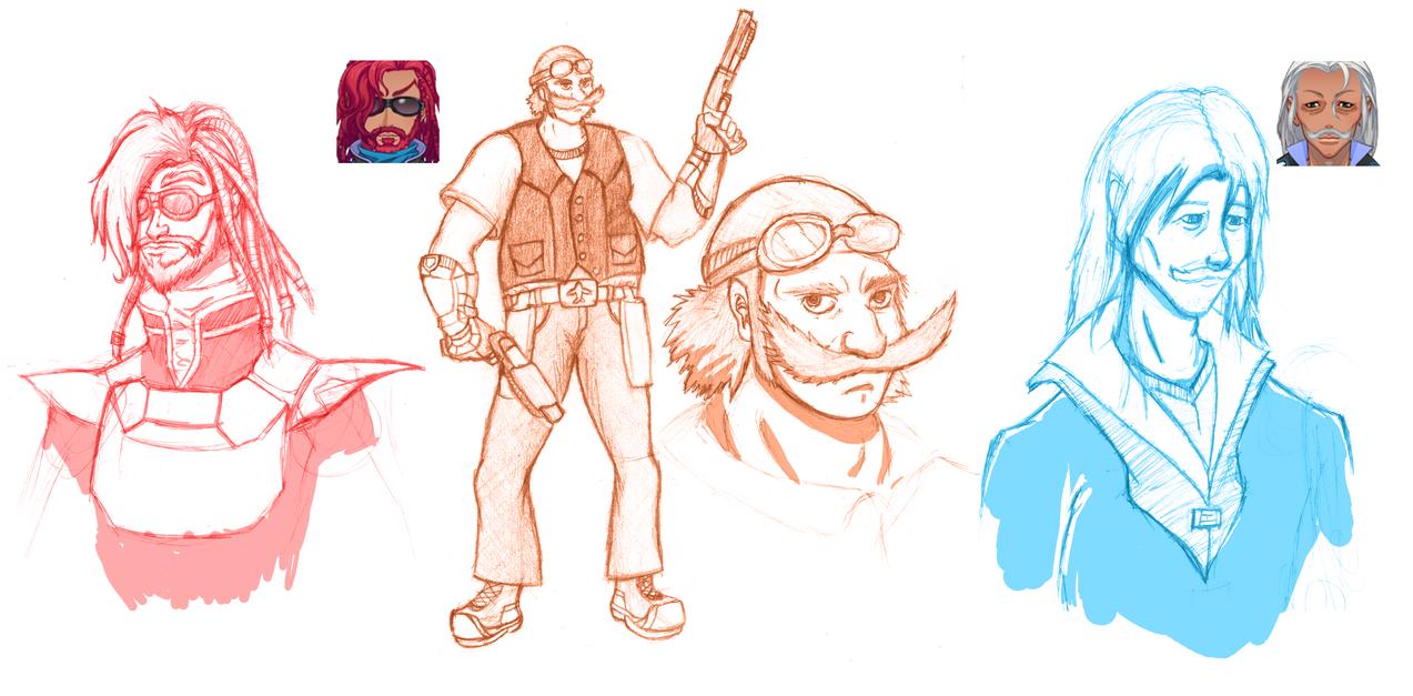 Two Swordsman and a Gunsman by Kiwii3364