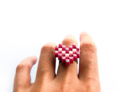 Paper heart ring