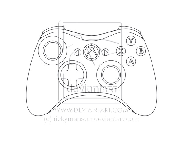 Drawing Lines Using Xbox One : Xbox controller line art by rickymanson on deviantart
