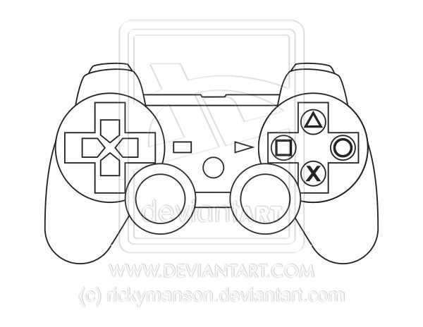 vector  sony playstation 3 controller lineart by