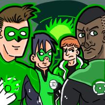 Green Lanterns (3x3 Post-It) by sketchitplus