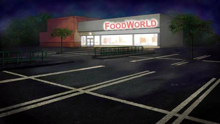Supermarket carpark at night