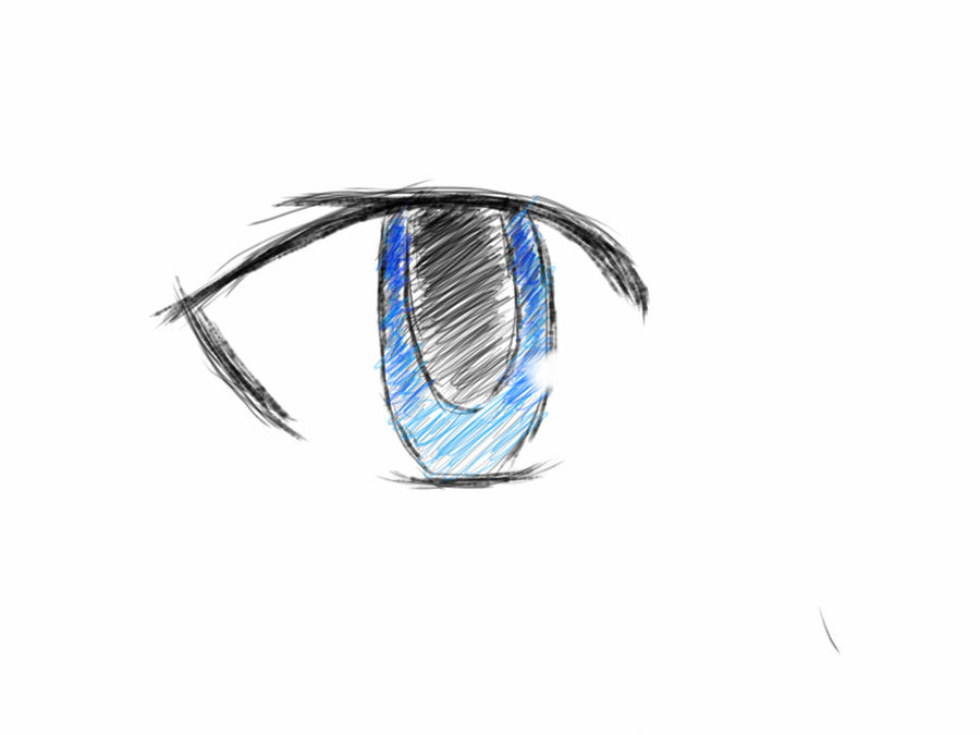 Manga eye sketch (colored) by Vincentmrl