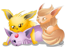 Flareon Espeon and Jolteon by SweetLollypop