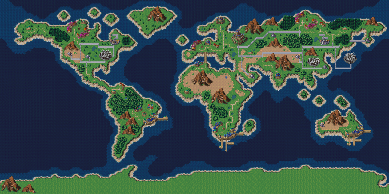 earth map in chrono trigger style by dr shellos
