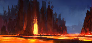 Fire Landscape by InterstellarDeej