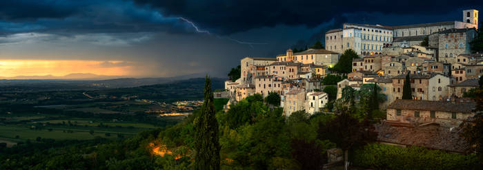 Thunderstorm on a sunset in Todi