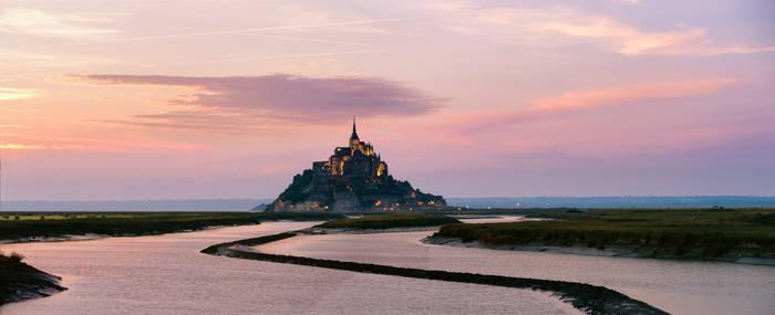 Mont Saint-Michel on sunset