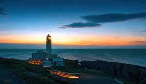 Rubha Reidh Lighthouse at sunset