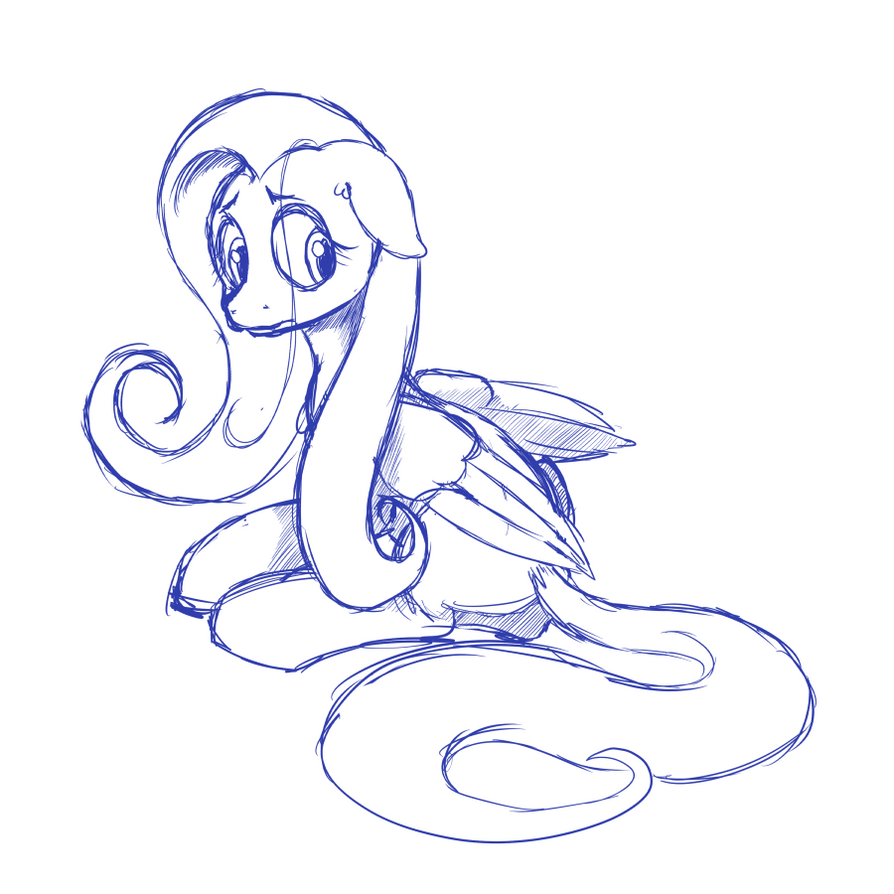 Fluttershy Sketch by tehflah