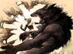 Rogue and wolf fight